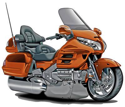 Honda Goldwing Orange Bike Poster