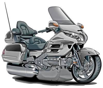 Honda Goldwing Silver Bike Poster