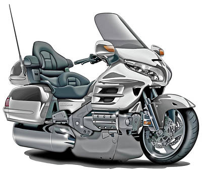 Honda Goldwing White Bike Poster