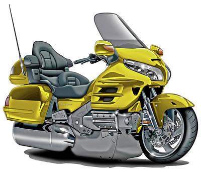 Honda Goldwing Yellow Bike Poster
