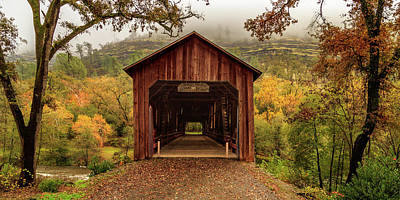 Poster featuring the photograph Honey Run Covered Bridge In Autumn by James Eddy