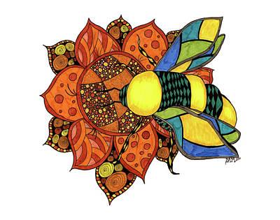 Honeybee On A Flower Poster