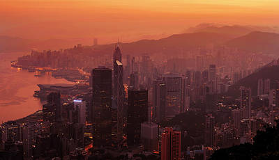 Poster featuring the photograph Hong Kong City View From Victoria Peak by Pradeep Raja Prints