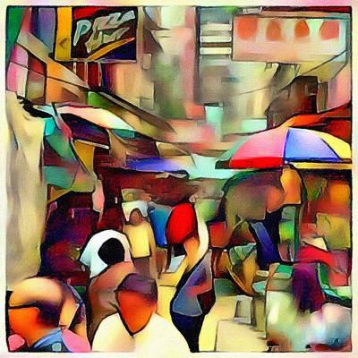 Hong Kong Market Street Cubism Poster