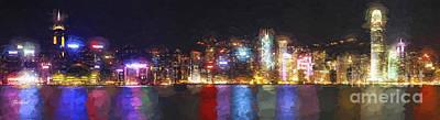 Hong Kong Painting At Night Poster