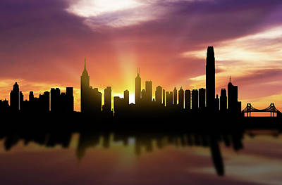Hong Kong Skyline Sunset Chhk22 Poster by Aged Pixel