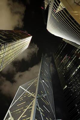 Hong Kong Skyscrapers At Night Poster