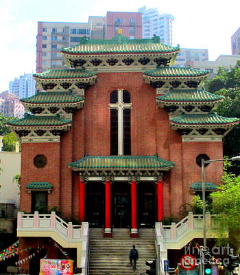 Poster featuring the photograph Hong Kong Temple by Randall Weidner