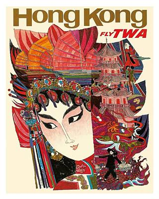 Hong Kong Vintage Airline Travel Poster By David Klein Poster