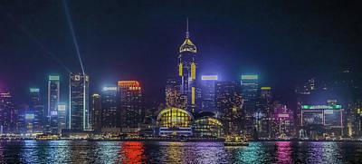 Hongkong At Night Poster by Hyuntae Kim