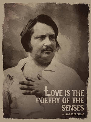 Honore De Balzac Quote Poster by Afterdarkness