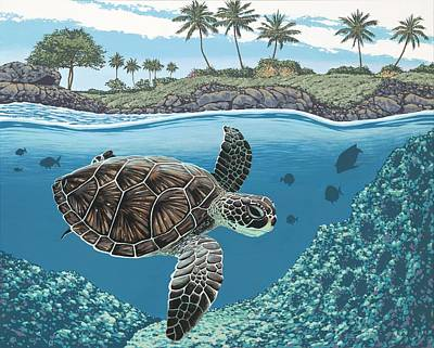 Honu Poster by Andrew Palmer