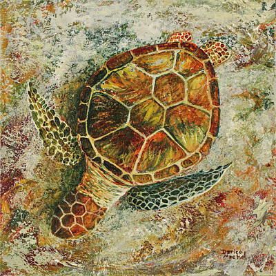 Poster featuring the painting Honu On The Beach by Darice Machel McGuire