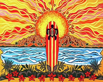 Honu Surf Poster by Debbie Chamberlin