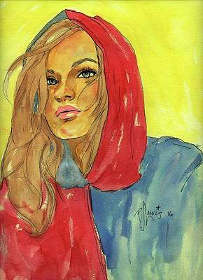 Poster featuring the painting Hoody by P J Lewis