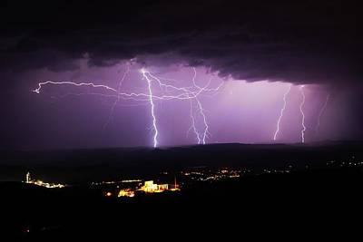 Poster featuring the photograph Horizontal And Vertical Lightning by Ron Chilston