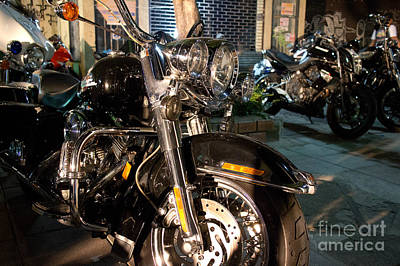 Horizontal Front View Of Fat Cruiser Motorcycle With Chrome Fork Poster