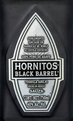 Hornitos Black Barrel Tequila Label Poster by Norman Pogson