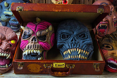 Horror Masks In Suitcase Poster by Garry Gay