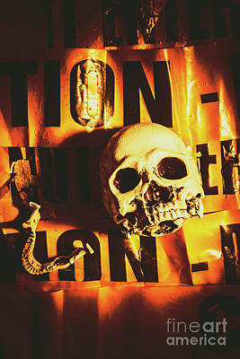 Horror Skulls And Warning Tape Poster by Jorgo Photography - Wall Art Gallery