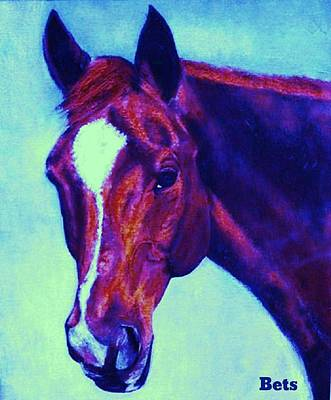 Horse Art Horse Portrait Maduro Deep Purple Poster