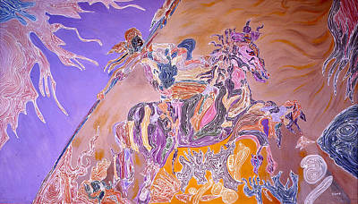 Poster featuring the painting Horse Back Rider by Sima Amid Wewetzer