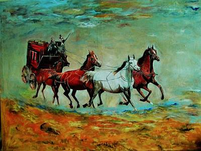 Horse Chariot Poster by Khalid Saeed