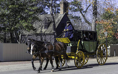 Horse Drawn Carriage In Colonial Williamsburg Poster by Teresa Mucha