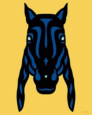 Horse Face Rick - Horse Pop Art - Primrose Yellow, Lapis Blue, Island Paradise Blue Poster