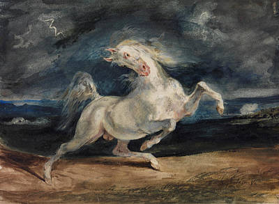 Horse Frightened By Lightning  Poster by Eugene Delacroix