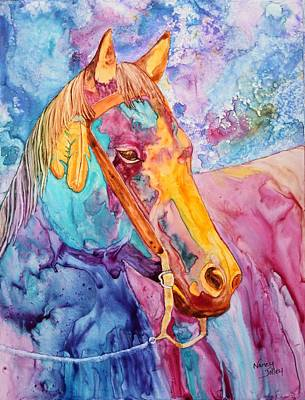 Horse Of Many Colors Poster by Nancy Jolley