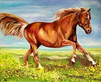 Horse On A Field  Poster