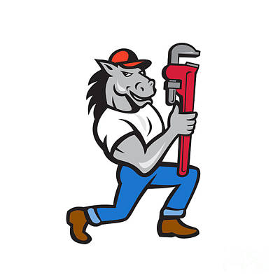 Horse Plumber Kneeling Monkey Wrench Cartoon Poster by Aloysius Patrimonio