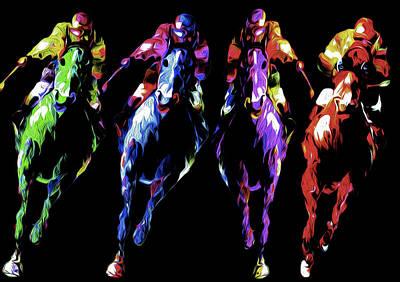 Horse Race By Nixo Poster by Nicholas Nixo