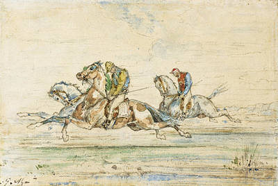 Horse Race With Jockey Poster by Gustave Moreau