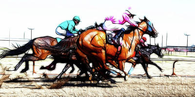Horse Racing Dreams 4 Poster by Bob Christopher