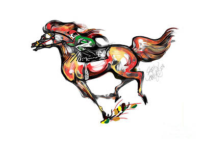 Horse Racing In Fast Colors Poster