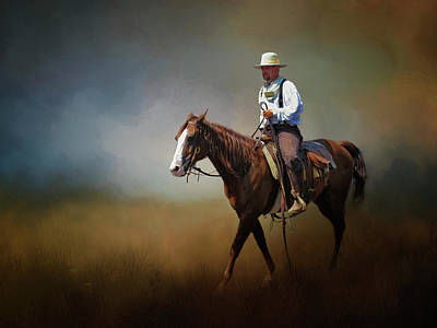 Poster featuring the photograph Horse Ride At The End Of Day by David and Carol Kelly