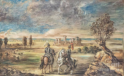 Horse Riders And Landscape By Giorgio De Chirico Poster by Roberto Morgenthaler