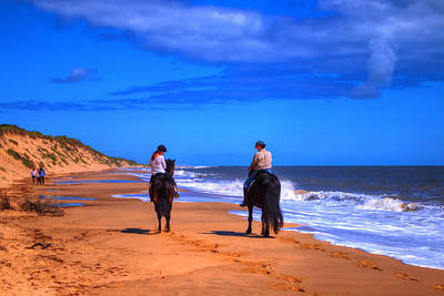 Horse Riders Out For A Walk Poster