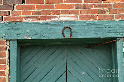 Horse Shoe On Old Door Frame Poster