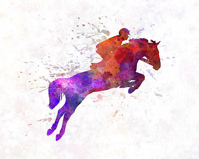 Horse Show 01 In Watercolor Poster