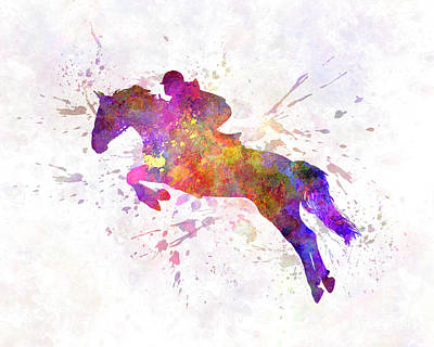 Horse Show 07 In Watercolor Poster