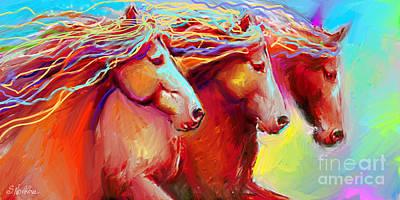 Horse Stampede Painting Poster by Svetlana Novikova