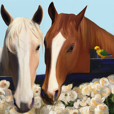 Horse Whispers  Poster by Julianne  Ososke