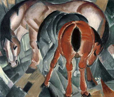 Horse With Two Foals Poster by Franz Marc