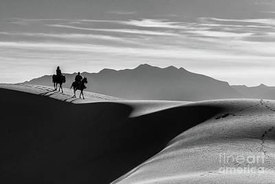 Horseback At White Sands Poster