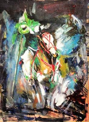 Horse,horseman And The Target Poster by Khalid Saeed