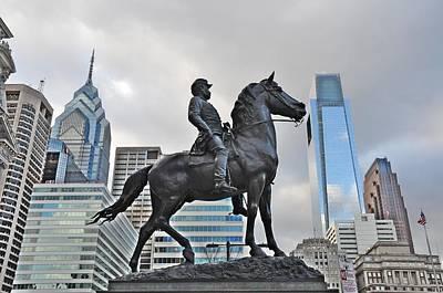 Horseman Between Sky Scrapers Poster
