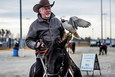 Horseman Riding With Gyr Falcon 4677 Poster by Doug Berry